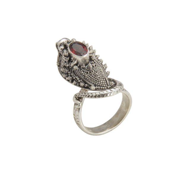 anillo de plata serpiente con granate lateral shadisilver.jpg