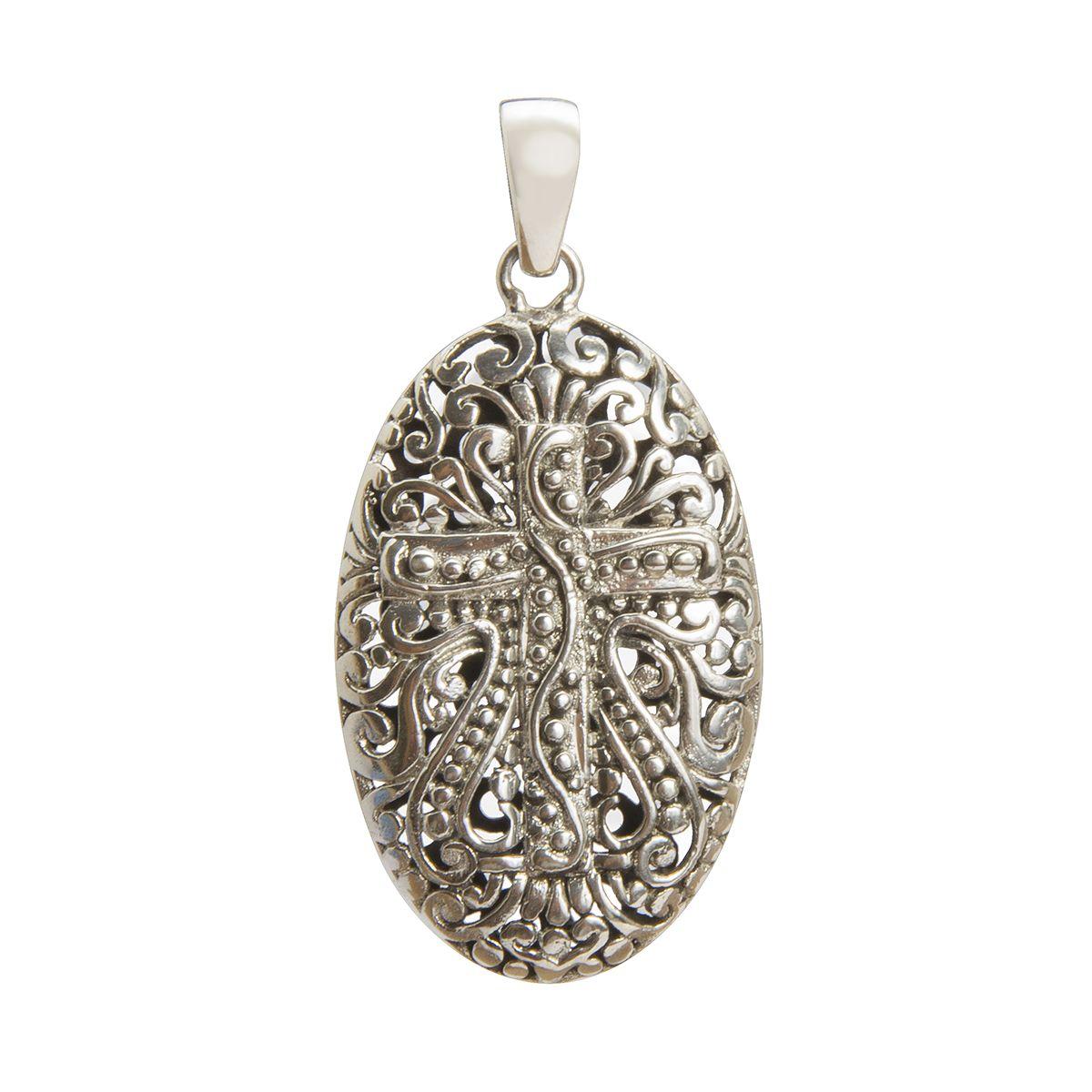 colgante de plata oxidada cruz shadisilver