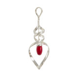 colgante de plata de ley coral  rojo shadisilver