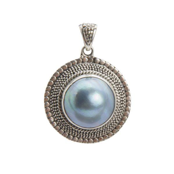 colgante plata oxidada con perla shadisilver