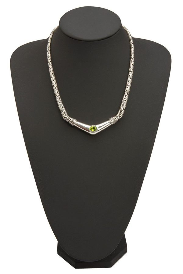 collar de plata eslabones bizantinos peridoto shadisilver