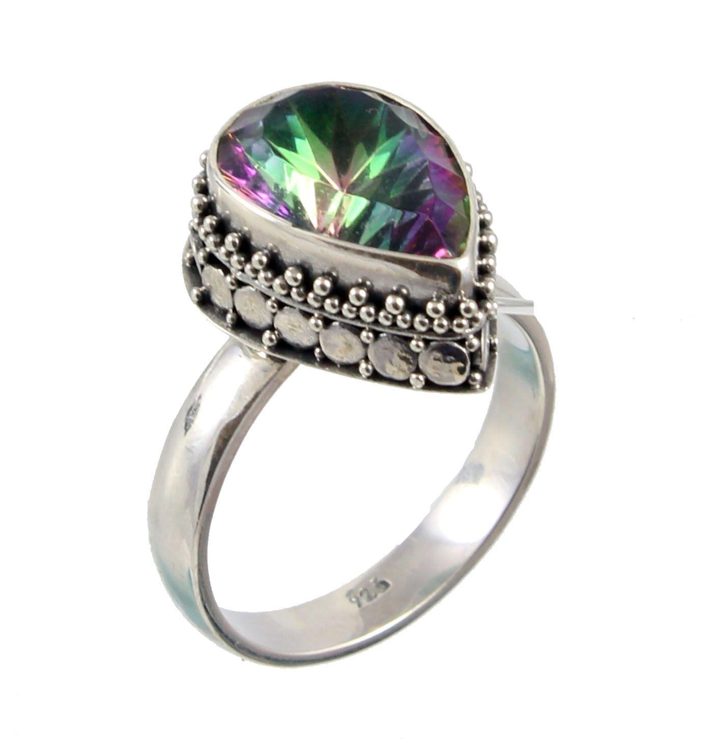 3f4b9c30a6d8 anillo de plata con cuarzo mistico facetado plata oxidada ...
