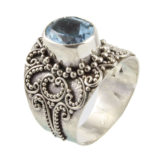 anillo étnico de plata de ley con topacio azul shadisilver