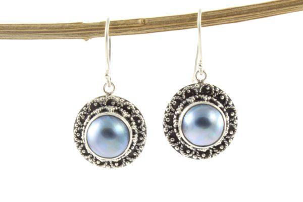 Pendientes de plata de ley étnicos con perla natural azul shadisilver