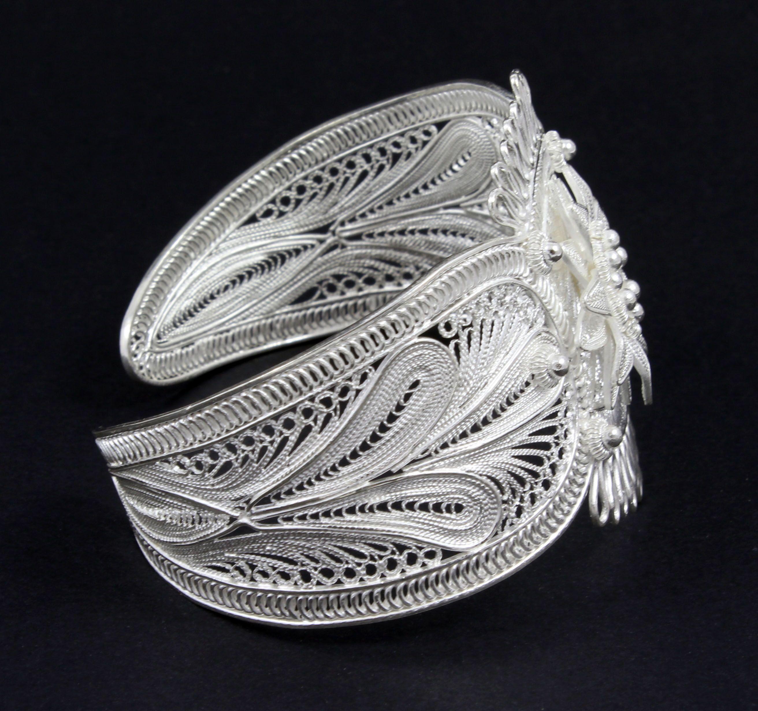 d5aec79fc8a03 Brazalete de plata de ley filigrana de plata