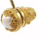 Pendientes de plata perlas y circonitas bañados en oro Shadisilver