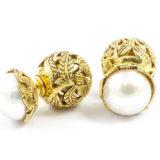 Pendientes de plata con baño de oro y perlas Shadisilver (2)