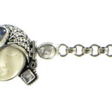 Pulsera de plata de ley con cara tallada y piedra de Luna Shadisilver