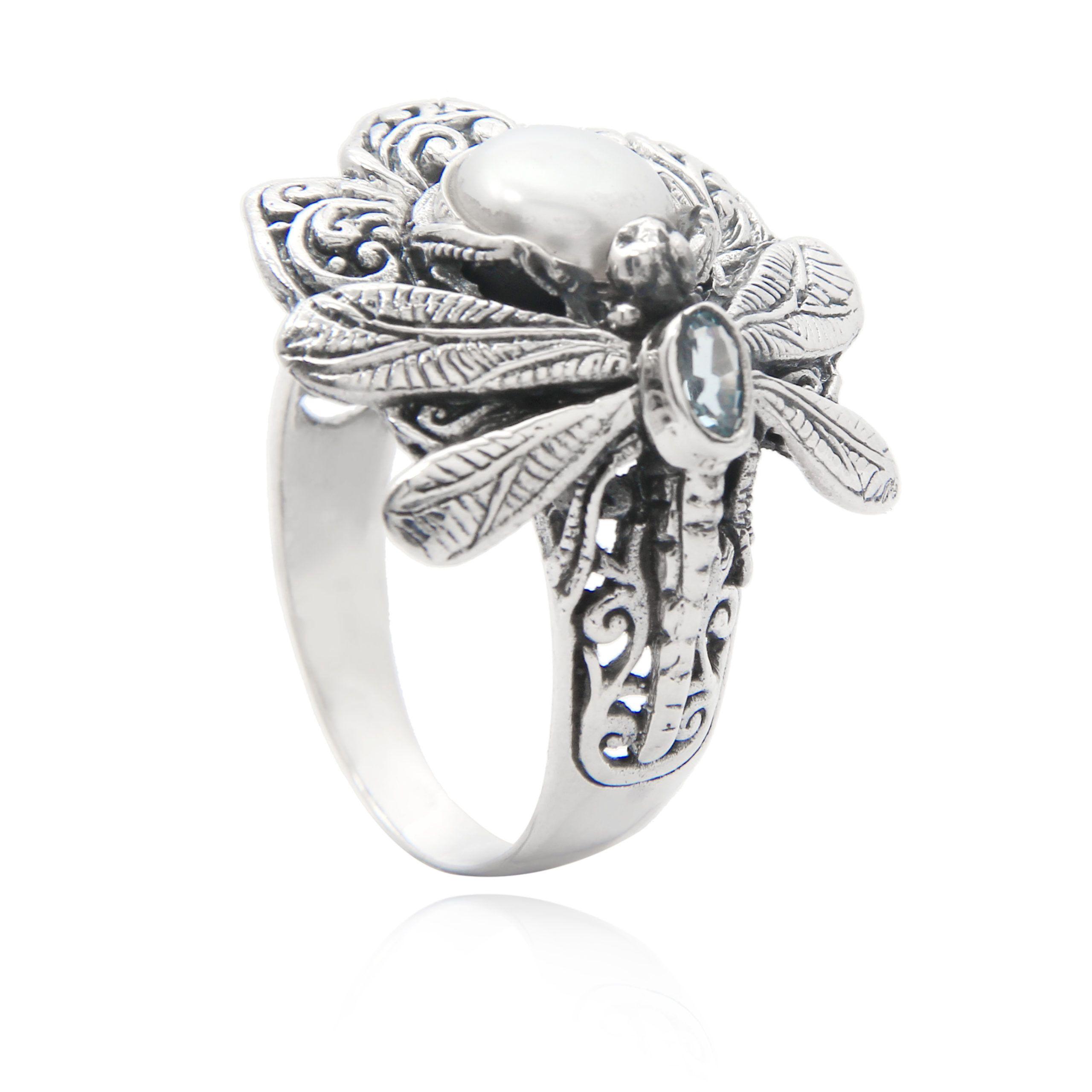 Anillo de plata libélula con perla y topacio azul Shadisilver