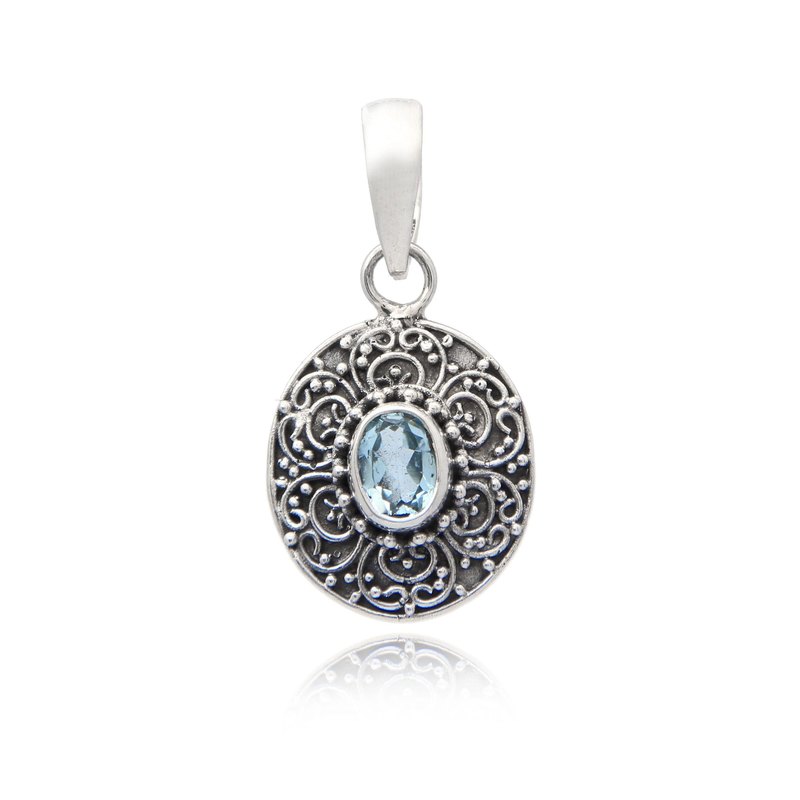 Colgante plata con topacio azul natural Shadi