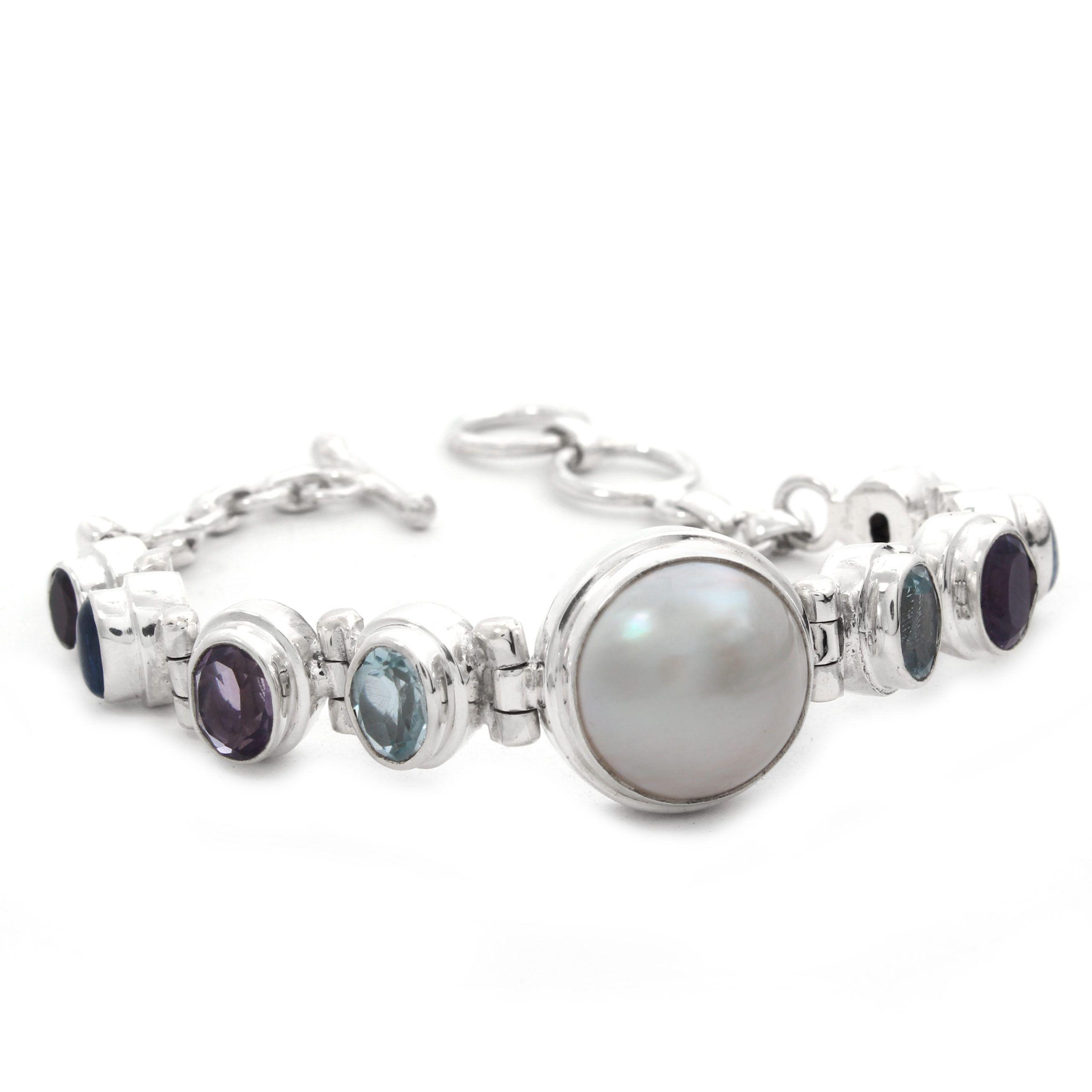 Pulsera de plata con perla y piedras naturales Shadi