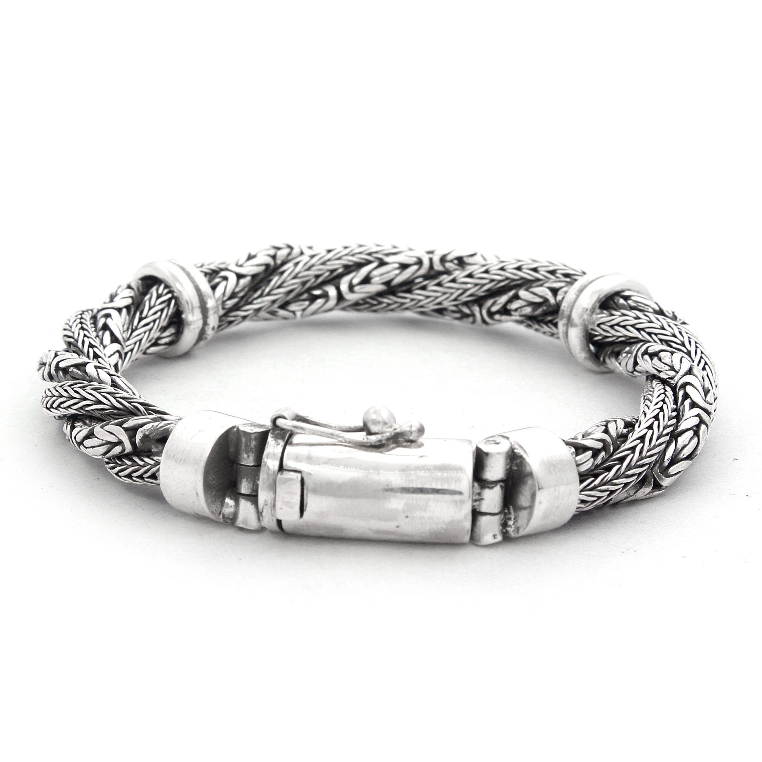Pulsera de plata de ley con cadenas trenzadas Shadi