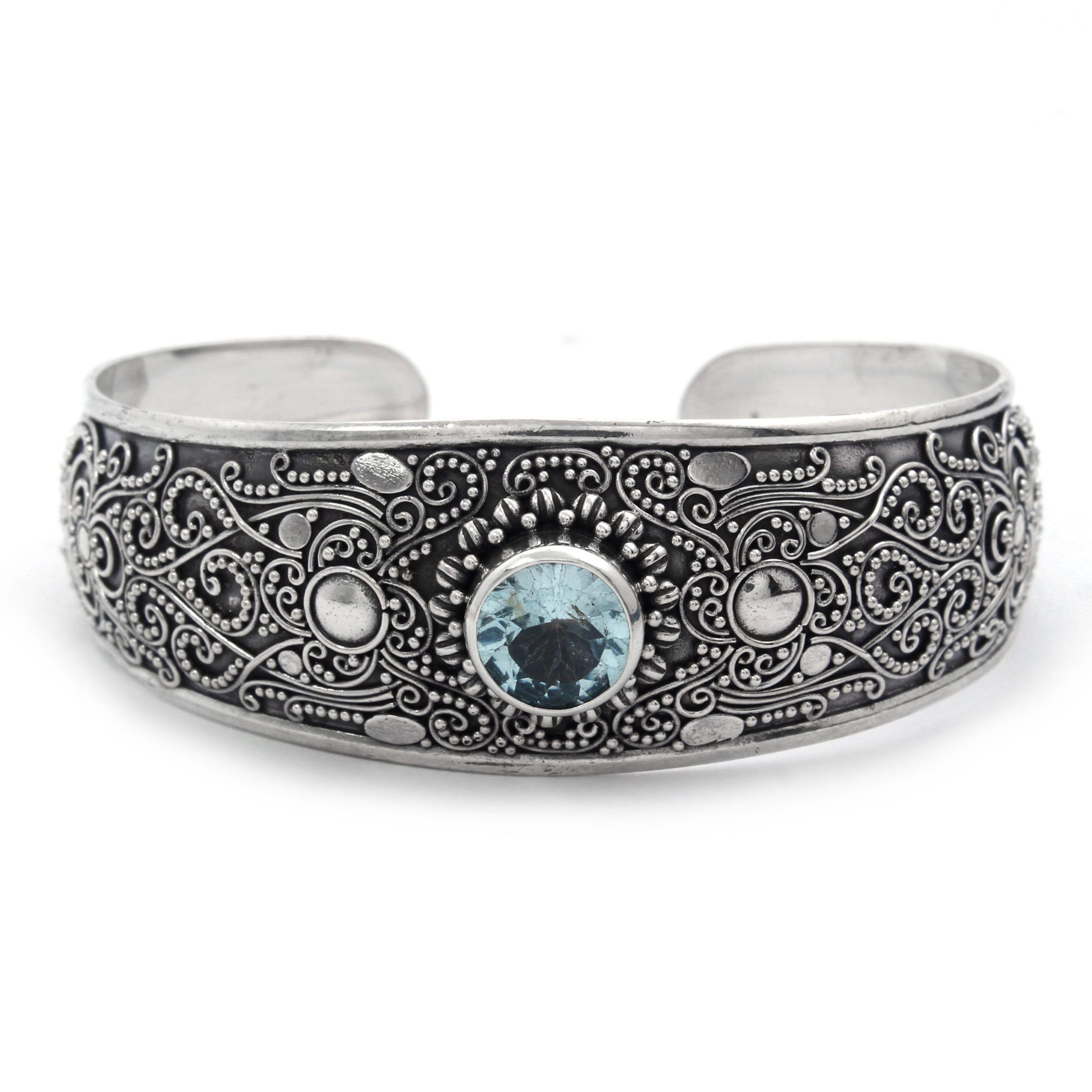 Brazalete plata con topacio azul Shadi